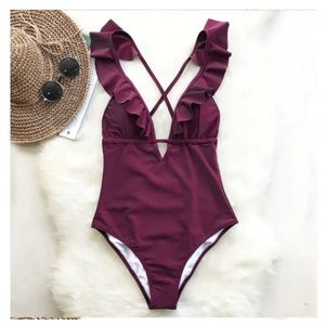Other - New! Women V-Neck One Piece Swimsuit Size S-XL